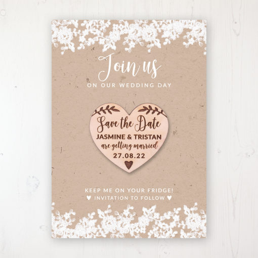 Lace Filigree Backing Card with Wooden Save the Date Heart Magnet