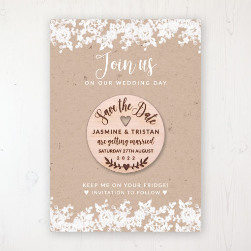 Lace Filigree Backing Card with Wooden Save the Date Round Magnet