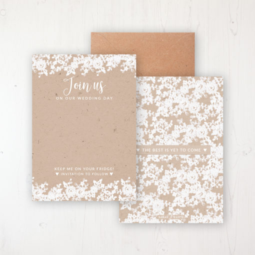 Lace Filigree Save the Date Backing Card Front & Back with Kraft Envelope