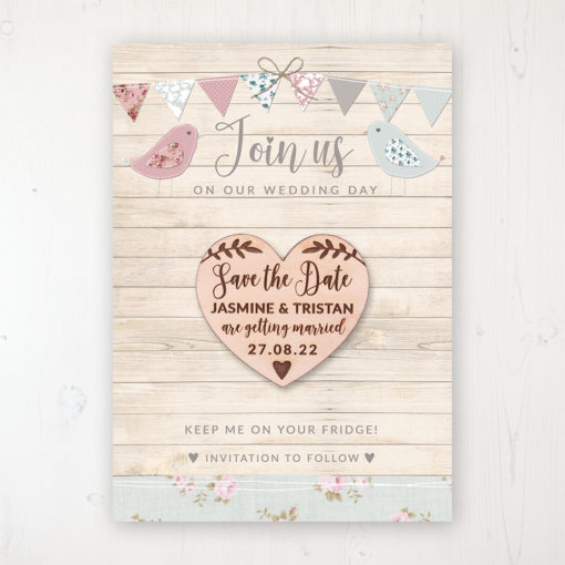 Lovebirds Backing Card with Wooden Save the Date Heart Magnet