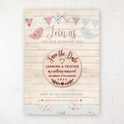 Lovebirds Backing Card with Wooden Save the Date Round Magnet
