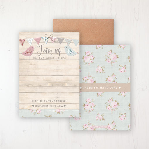 Lovebirds Save the Date Backing Card Front & Back with Kraft Envelope