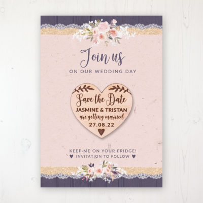 Midnight Glimmer Backing Card with Wooden Save the Date Heart Magnet
