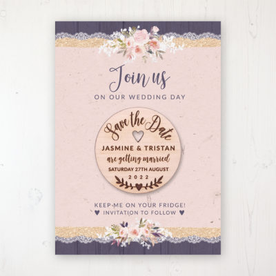 Midnight Glimmer Backing Card with Wooden Save the Date Round Magnet