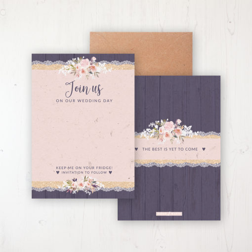 Midnight Glimmer Save the Date Backing Card Front & Back with Kraft Envelope