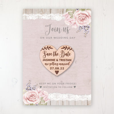 Mink Rose Backing Card with Wooden Save the Date Heart Magnet
