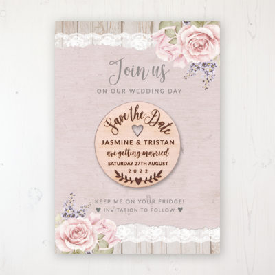 Mink Rose Backing Card with Wooden Save the Date Round Magnet
