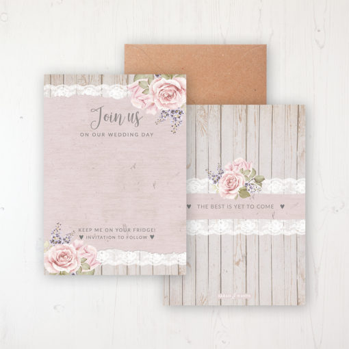 Mink Rose Save the Date Backing Card Front & Back with Kraft Envelope