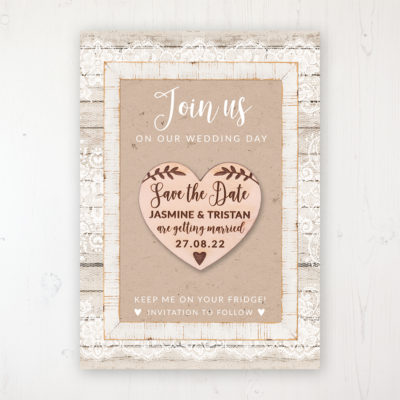 Natural Elegance Backing Card with Wooden Save the Date Heart Magnet