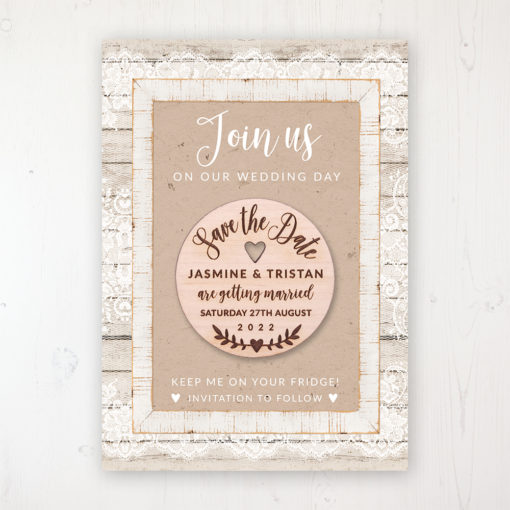 Natural Elegance Backing Card with Wooden Save the Date Round Magnet