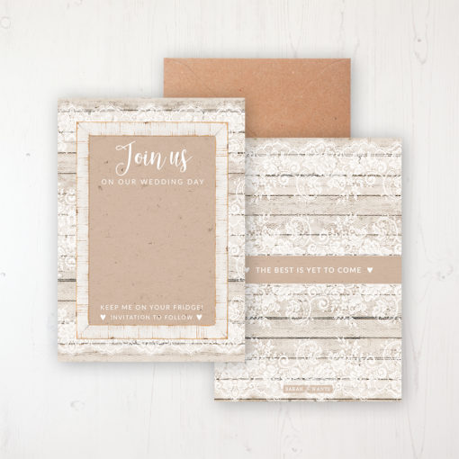 Natural Elegance Save the Date Backing Card Front & Back with Kraft Envelope