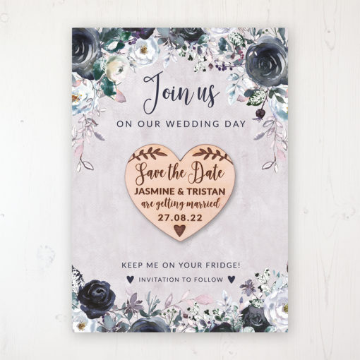 Navy Fleur Backing Card with Wooden Save the Date Heart Magnet