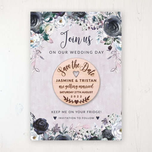 Navy Fleur Backing Card with Wooden Save the Date Round Magnet