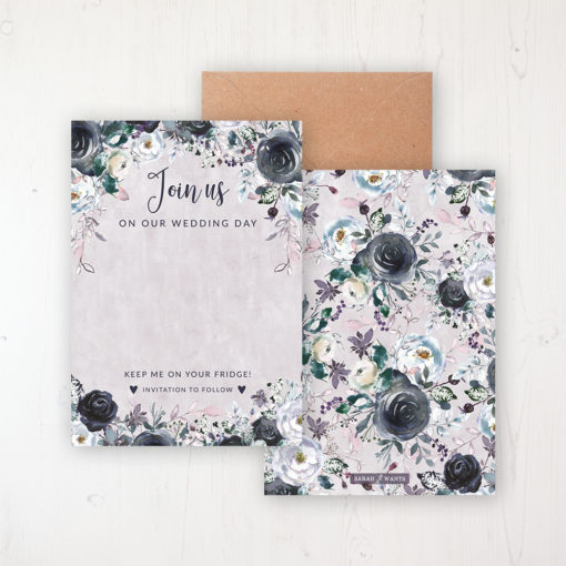Navy Fleur Save the Date Backing Card Front & Back with Kraft Envelope