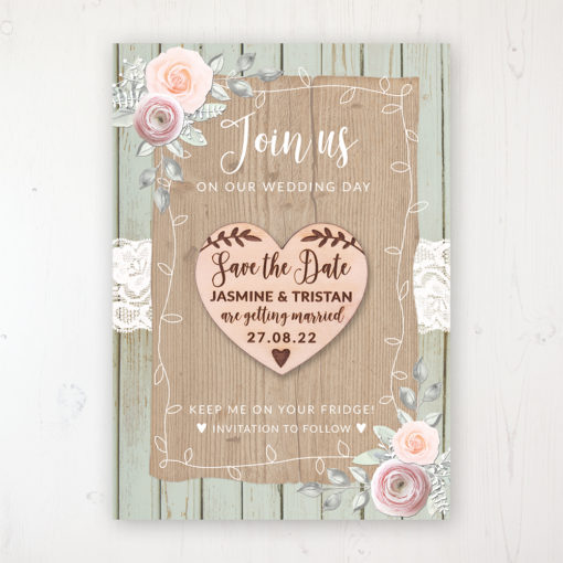 Ophelia Sage Backing Card with Wooden Save the Date Heart Magnet