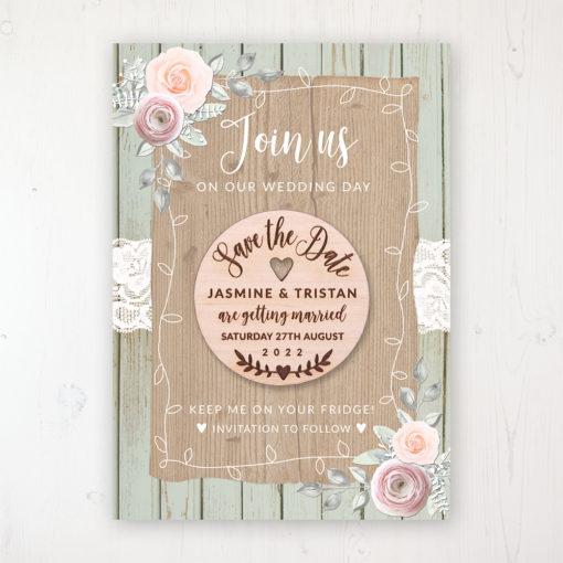 Ophelia Sage Backing Card with Wooden Save the Date Round Magnet