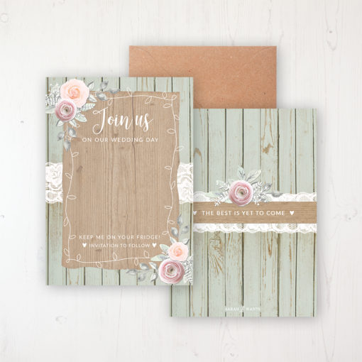 Ophelia Sage Save the Date Backing Card Front & Back with Kraft Envelope