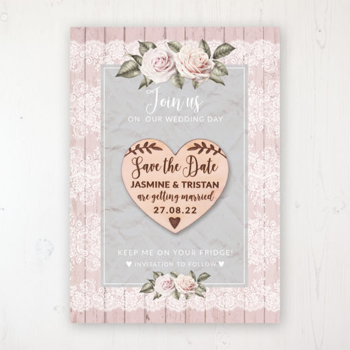 Powder Rose Backing Card with Wooden Save the Date Heart Magnet
