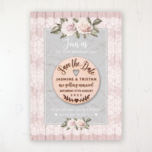 Powder Rose Backing Card with Wooden Save the Date Round Magnet