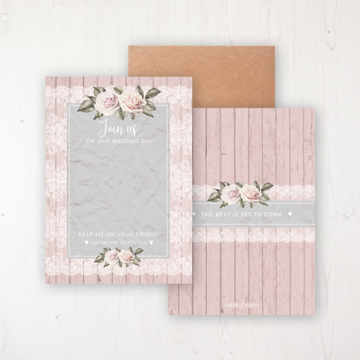 Powder Rose Save the Date Backing Card Front & Back with Kraft Envelope