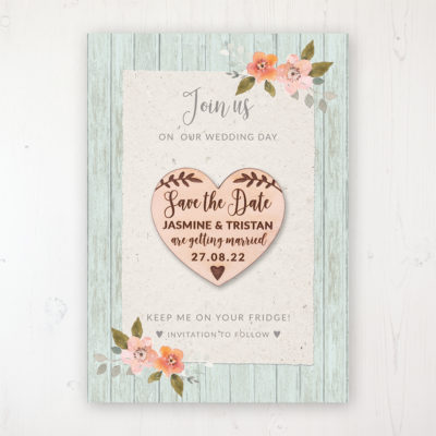 Prairie Peach Backing Card with Wooden Save the Date Heart Magnet