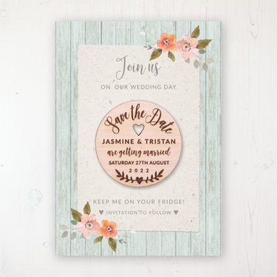 Prairie Peach Backing Card with Wooden Save the Date Round Magnet