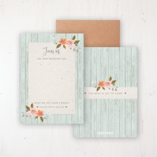 Prairie Peach Save the Date Backing Card Front & Back with Kraft Envelope