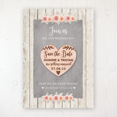 Rose Cottage Backing Card with Wooden Save the Date Heart Magnet