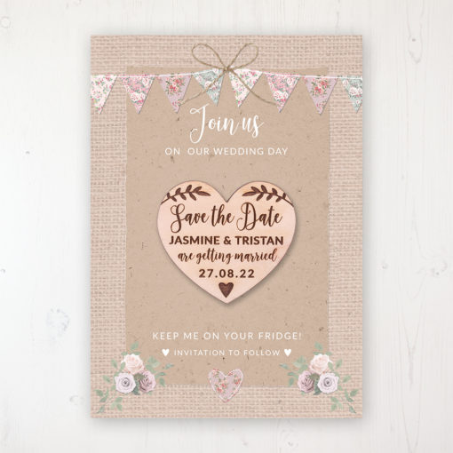 Rustic Barn Backing Card with Wooden Save the Date Heart Magnet
