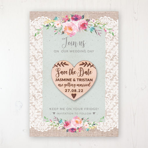 Rustic Farmhouse Backing Card with Wooden Save the Date Heart Magnet