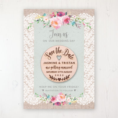 Rustic Farmhouse Backing Card with Wooden Save the Date Round Magnet