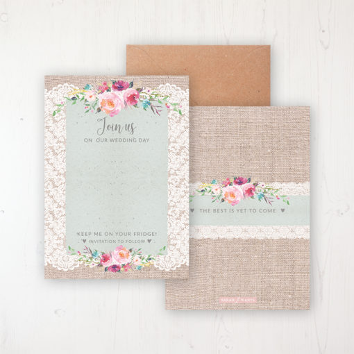 Rustic Farmhouse Save the Date Backing Card Front & Back with Kraft Envelope