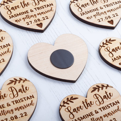 Laser Cut Wooden Heart Save the Date - Back