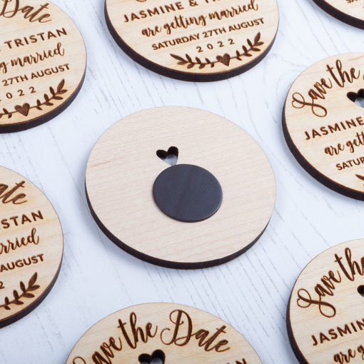 Laser Cut Wooden Round Save the Date - Back