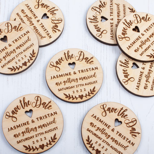 Laser Cut Wooden Round Save the Date - Front