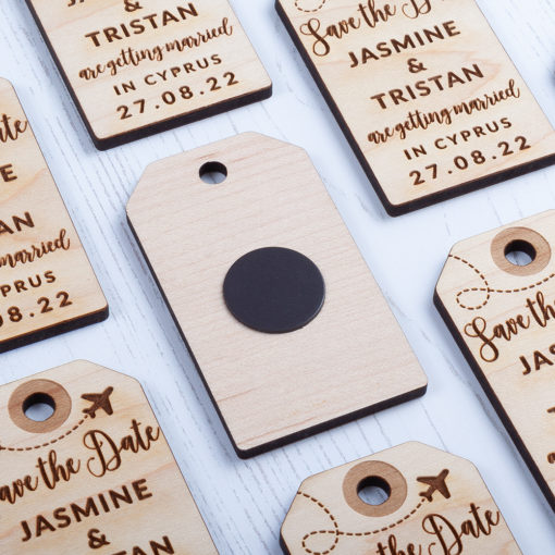 Laser Cut Wooden Luggage Tag Save the Date - Back