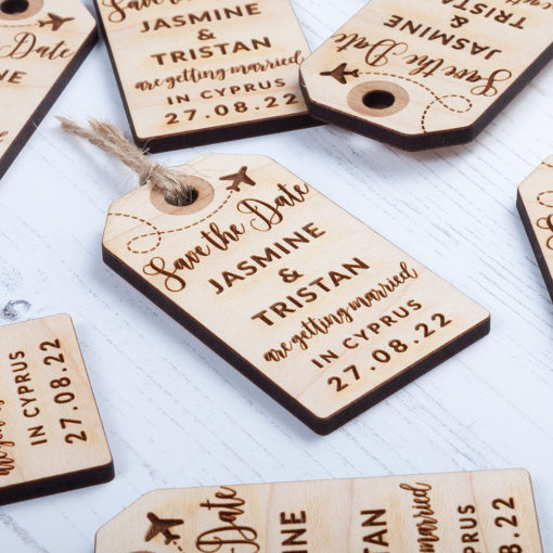 Laser Cut Wooden Luggage Tag Save the Date - Front