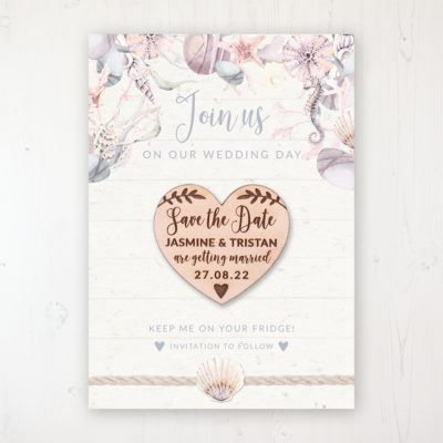 Shoreline Treasure Backing Card with Wooden Save the Date Heart Magnet