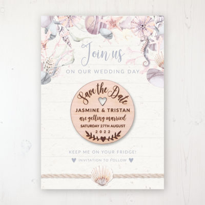 Shoreline Treasure Backing Card with Wooden Save the Date Round Magnet