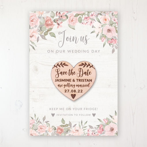 Summer Afternoon Backing Card with Wooden Save the Date Heart Magnet