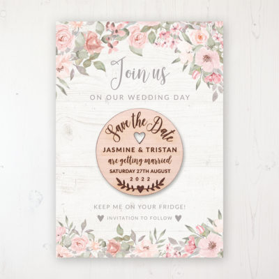 Summer Afternoon Backing Card with Wooden Save the Date Round Magnet