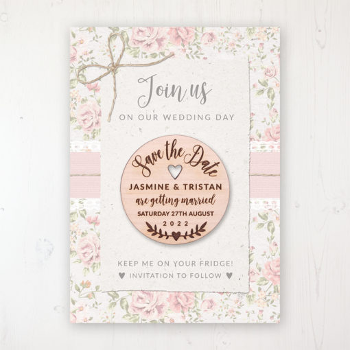 Summer Breeze Backing Card with Wooden Save the Date Round Magnet