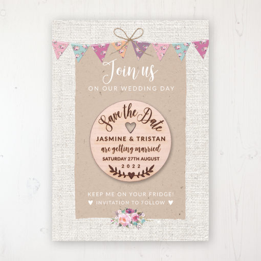 Tipi Love Backing Card with Wooden Save the Date Round Magnet