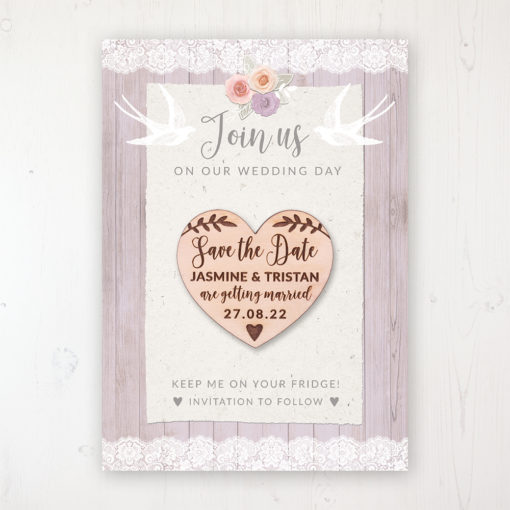 Vintage Birdcage Backing Card with Wooden Save the Date Heart Magnet