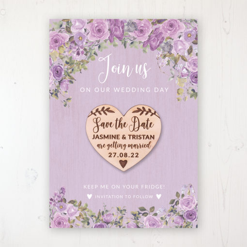 Wild Lavender Backing Card with Wooden Save the Date Heart Magnet