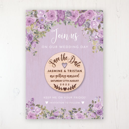 Wild Lavender Backing Card with Wooden Save the Date Round Magnet