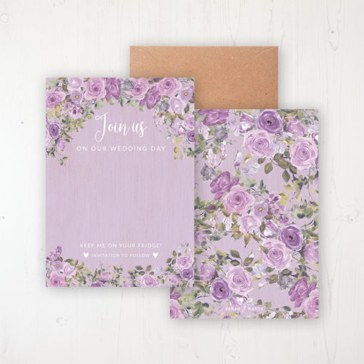 Wild Lavender Save the Date Backing Card Front & Back with Kraft Envelope