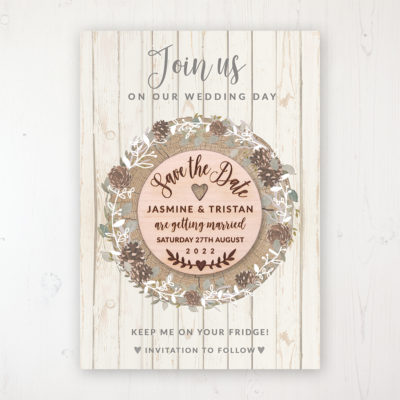 Wild Woodland Backing Card with Wooden Save the Date Round Magnet