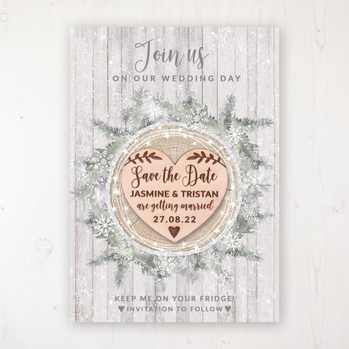 Winter Wonderland Backing Card with Wooden Save the Date Heart Magnet