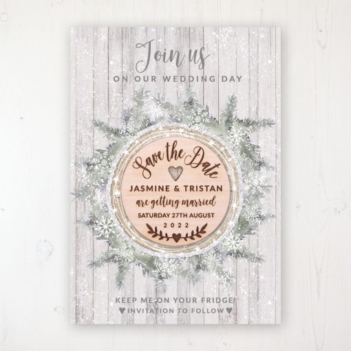 Winter Wonderland Backing Card with Wooden Save the Date Round Magnet
